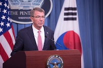 Defense Secretary Ash Carter speaks during a press conference with South Korean Defense Minister Han Min-koo at the Pentagon following the 48th U.S.-Republic of Korea Security Consultative Meeting, Oct. 20, 2016. DoD photo by Army Sgt. Amber I. Smith