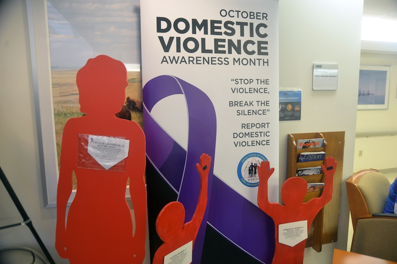 "There were displays set up around Offutt AFB during October to support Domestic Violence Awareness month. The display included the ""Silent Witness Display,"" also called the ""Clothesline Project,"" or the ""Hidden Hurt Mobile Display,"" will be available throughout the month. (U.S. Air Force photo by Kendra Williams)"