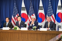Defense Secretary Ash Carter speaks during a news conference with, from left, South Korean Defense Minister Han Min-koo, South Korean Foreign Affairs Minister Yun Byung-se and Secretary of State John Kerry at the State Department in Washington, D.C., Oct. 19, 2016. DoD photo by Army Sgt. Amber I. Smith