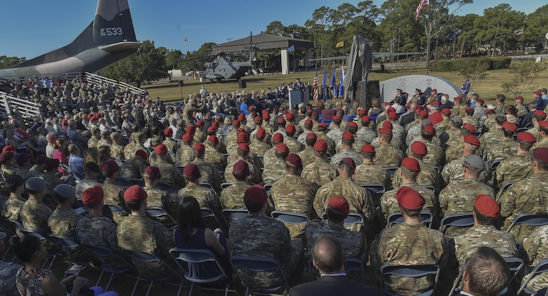 More than 800 Airmen and families attended the Special Tactics Memorial dedication ceremony at Hurlburt Field, Fla., Oct. 20, 2016. Special Tactics, the Air Force's ground special operations force, has been engaged in every major conflict since 9/11, continuously deployed for more than 5,000 days to more than 73 locations. (U.S. Air Force photo by Senior Airman Ryan Conroy)