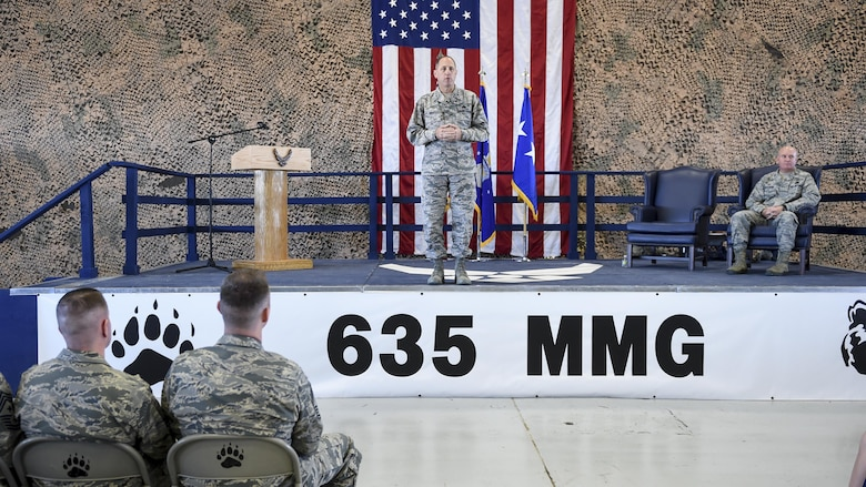 Lt. Gen Lee Levy, commander Air Combat Command officiated the 49th Materiel Maintenance Group transition to the 635th MMG re-designation ceremony Oct. 20, 2016 at Holloman Air Force Base N.M. The Ceremony marks the historic event of the Materiel Maintenance Group moving from Air Combat Command over to Air Force Material Command. (U.S. Air Force photo by Staff Sgt. Stacy Jonsgaard)