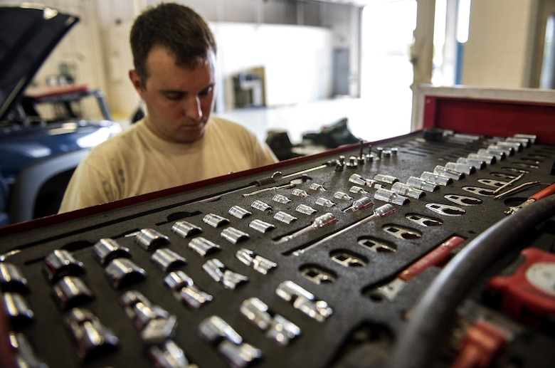 Staff Sgt. Adam Hix, 23d Logistics Readiness Squadron vehicle maintenance technician, puts away tools, Oct. 12, 2016, at Moody Air Force Base, Ga. At the end of the day, technicians ensure they put all tools back in their designated drawer to maintain accountability. (U.S. Air Force photo by Airman 1st Class Janiqua P. Robinson)