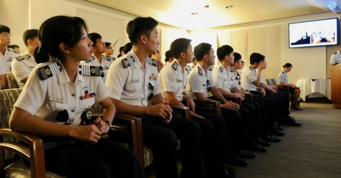 Republic of Korea Air Force (ROKAF) Academy cadets listen to a briefing during the recent Pacific Air Forces hosted ROKAF Academy cadet visit to Joint Base Pearl Harbor-Hickam, Hawaii, Oct. 19, 2016.  This marks the third visit by ROKAFA cadets who after commissioning, will likely work alongside U.S. forces on the Korean peninsula.  The visit is an opportunity for PACAF to show the cadets how PACAF and U.S. Pacific Command operate and gain a better understanding of the region and the importance of regional security.  (U.S. Air Force photo by Staff Sgt. Kamaile Chan)