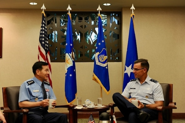 Republic of Korea Air Force (ROKAF) Lt. Gen. Keon Wan Lee (left), ROKAF Academy superintendent, talks with U.S. Air Force Maj. Gen. Mark C. Dillon, Pacific Air Forces vice commander, during the recent PACAF-hosted ROKAF Academy cadet visit to Joint Base Pearl Harbor-Hickam, Hawaii, Oct. 19, 2016.  This marks the third visit by ROKAFA cadets who after commissioning, will likely work alongside U.S. forces on the Korean peninsula.  The visit is an opportunity for PACAF to show the cadets how PACAF and U.S. Pacific Command operate and gain a better understanding of the region and the importance of regional security.  (U.S. Air Force photo by Staff Sgt. Kamaile Chan)