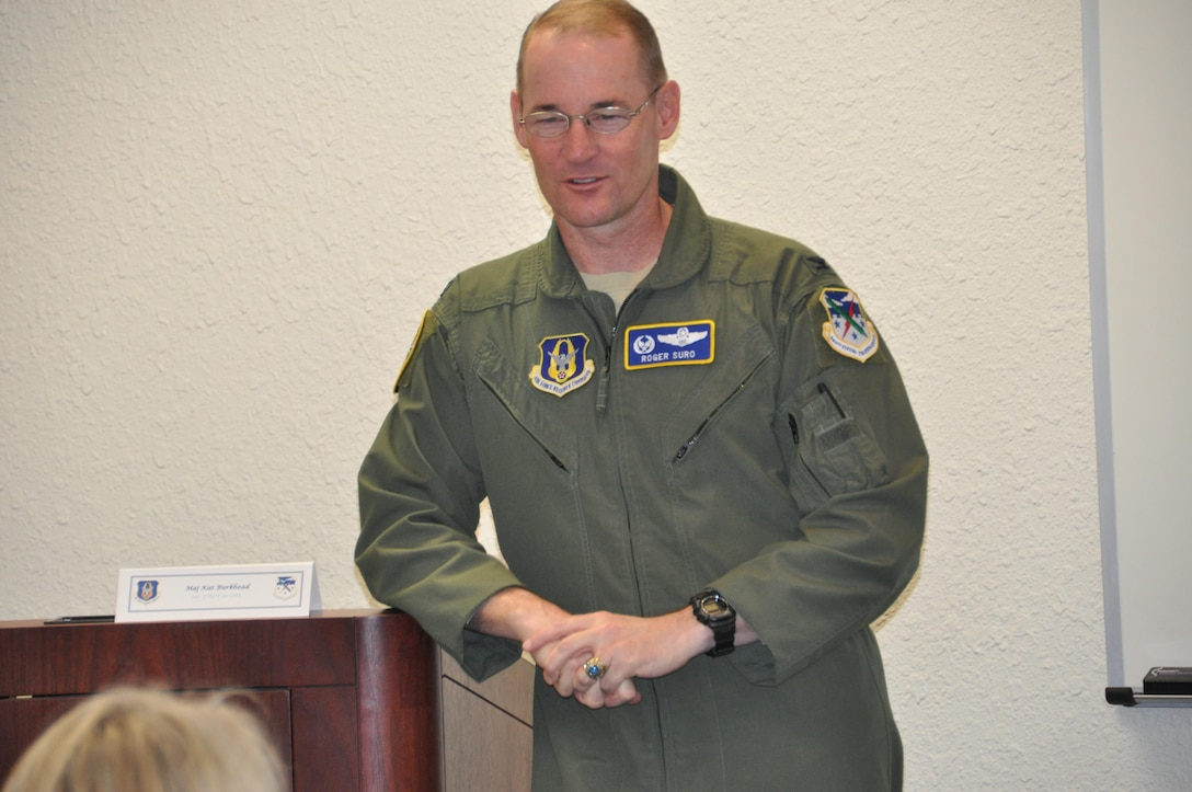 Col. Roger Suro, 340th Flying Training Group commander, delivers opening remarks during the Groups' 2016 annual fall commanders summit at Joint Base San Antonio-Randolph, Texas. Photo by Janis El Shabazz.