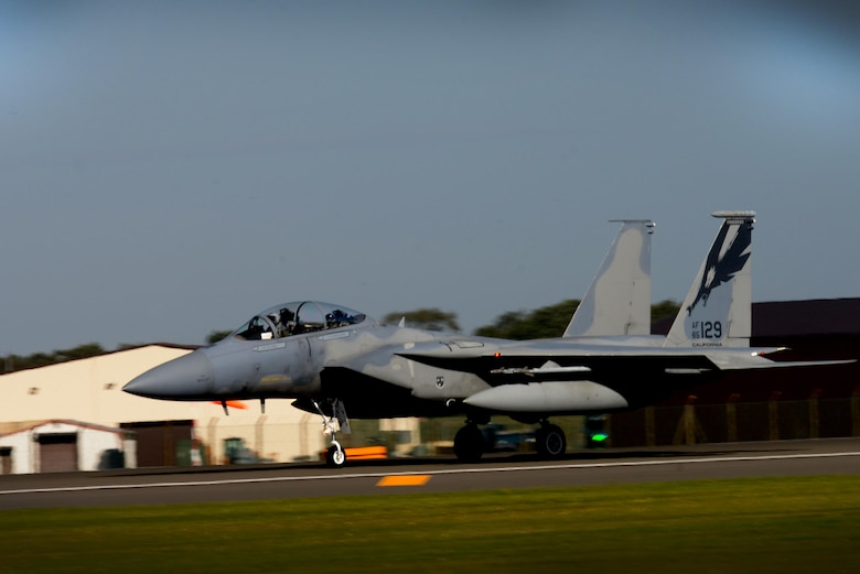 A California Air National Guard F-15C Eagle taxis after landing at Royal Air Force Lakenheath, England, Sept. 28, 2016. The aircraft stopped at RAF Lakenheath on its way to their home station after participating in a joint NATO air policing mission. (U.S. Air Force photo/Airman 1st Class Eli Chevalier)