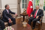 Defense Secretary Ash Carter meets with Turkish Prime Minister Binali Yildirim in Ankara, Turkey, Oct. 21, 2016. DoD photo by Air Force Tech. Sgt. Brigitte N. Brantley