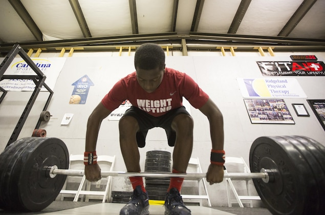 Braylin. Young prepares to do a clean and jerk lift during practice July 21, 2016, in Beaufort, S.C. Braylin is on Team Beaufort Olympic Weightlifting team and recently won the 14-15 Individual 85 kg at the USA Weightlifting National Youth Competition on June 25, 2016, in Austin, Texas.