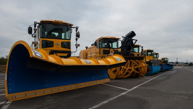Heavy snow equipment is parked in front of the 786th Civil Engineer Squadron's heavy equipment facility at Ramstein Air Base, Germany, Oct. 19, 2016. The members of Ramstein's snow removal team are comprised of Airmen throughout the 786th CES and 86th Maintenance Squadron. This is a secondary job that they perform before and throughout the winter season. Preparations for winter weather hazards are made to ensure Ramstein's 24-hour operation can continue during inclement winter weather. (U.S. Air Force photo by Airman 1st Class Lane T. Plummer)