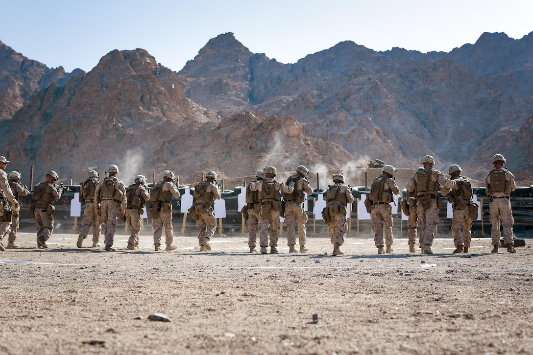 U.S. Marines with weapons platoon, Fox Company, 2nd Battalion, 7th Marine Regiment, Special Purpose Marine Air - Ground Task Force - Crisis Response - Central Command, conduct a live - fire range during Mission Rehearsal Exercise 2016 near the southern border of the Hashemite Kingdom of Jordan,  Sept. 11, 2016. The MRX is a collective training event where the MAGTF elements collaborate to refine individual and cooperative capabilities. SPMAGTF - CR – CC is a self-sustaining expeditionary unit, designed to provide a broad range of crisis response capabilities throughout the Central Command area of responsibility, using organic aviation, logistical, and ground combat assets, to include embassy reinforcement and tactical recovery of aircraft and personnel. (U.S. Marine Corps photo by Cpl. Trever Statz/Released)