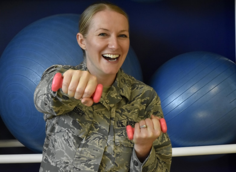 Senior Airman Catherine Libbey, 439th Aeromedical and Dental Squadron, shows us that you can have fun with your physical fitness. Libbey recently passed her fitness test after failing three times and being warned that if she failed again, she would be discharged. (U.S. Air Force photo/ TSgt. Amelia Leonard)