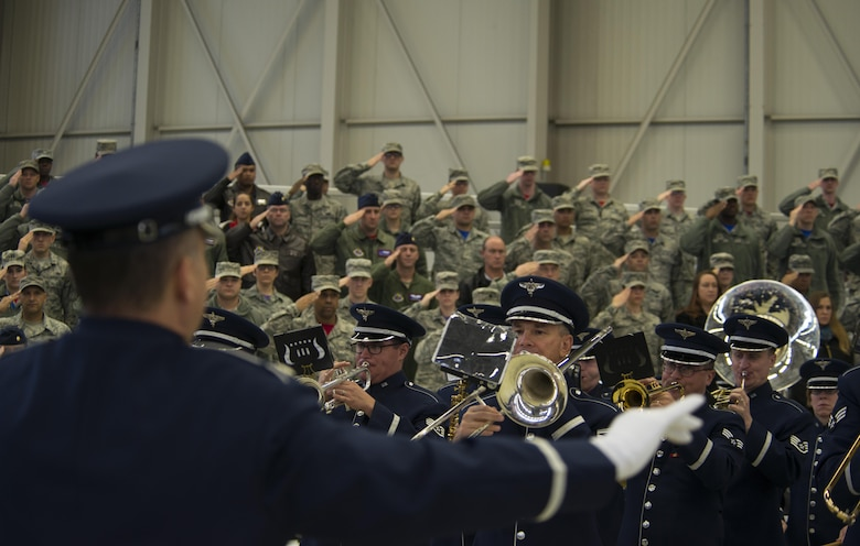The U.S. Air Forces in Europe band plays the American national anthem during the 3rd Air Force change of command ceremony at Ramstein Air Base, Germany, Oct. 21, 2016. Lt. Gen. Timothy M. Ray relinquished command of the 3rd Air Force to Lt. Gen. Richard M. Clark. (U.S. Air Force photo by Senior Airman Tryphena Mayhugh)