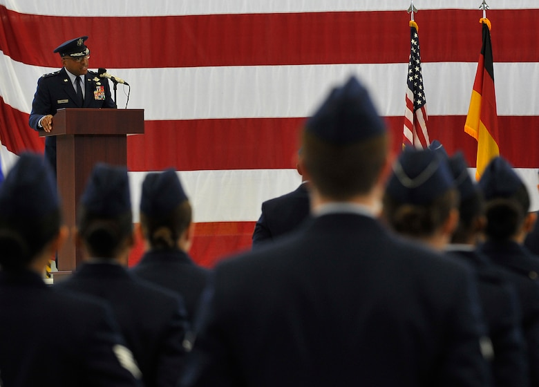 Lt. Gen. Richard M. Clark, 3rd Air Force commander, gives a speech during a change of command ceremony at Ramstein Air Base, Germany, Oct. 21, 2016. The 3rd Air Force plans, deploys, sustains and redeploys Air Force forces that directly support the combatant commanders during contingency and wartime operations. (U.S. Air Force photo by Senior Airman Tryphena Mayhugh)