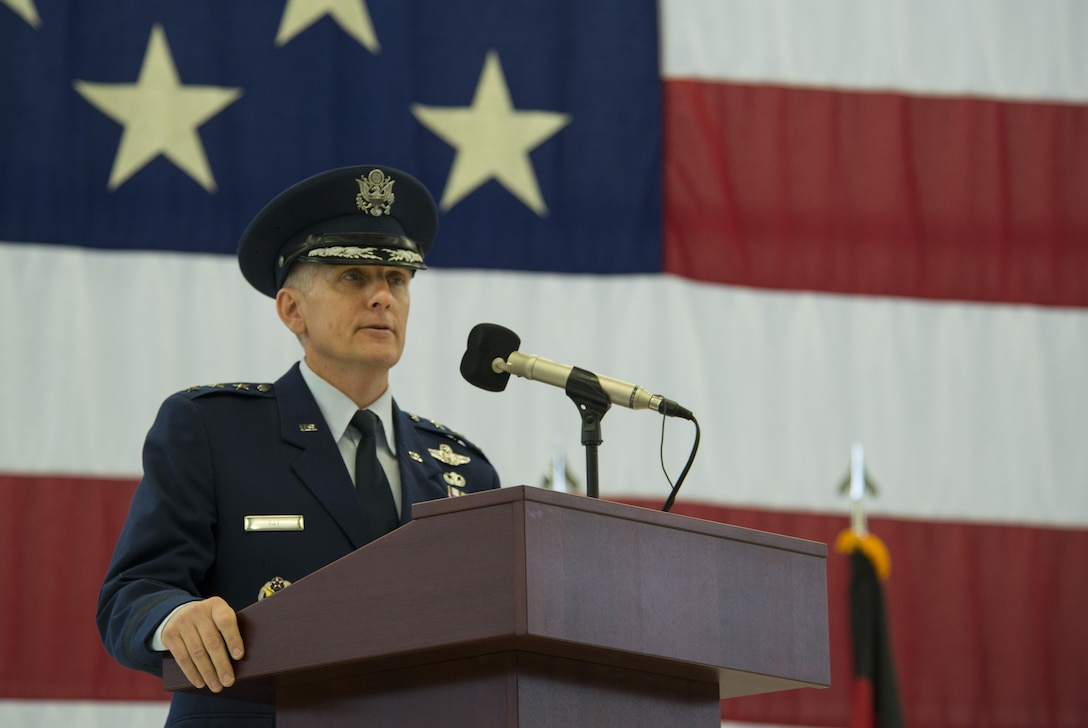 Lt. Gen. Timothy M. Ray, outgoing 3rd Air Force commander, gives a speech during a change of command ceremony at Ramstein Air Base, Germany, Oct. 21, 2016. Ray relinquished command of the 3rd Air Force to Lt. Gen. Richard M. Clark. (U.S. Air Force photo by Senior Airman Tryphena Mayhugh)