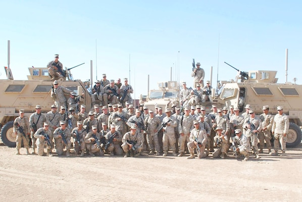 Sgt. Michael Kane's security platoon aboard Marine Corps Base Camp Leatherneck, Afghanistan, 2009. Kane deployed to Afghanistan in 2009. While returning to Camp Leatherneck from Forward Operating Base Nowzad, Kane's convoy was struck by an improvised explosive device, injuring Kane and the other two Marines in the vehicle. Today, Kane is the fuels pit non-commissioned officer with Headquarters and Headquarters Squadron aboard Marine Corps Air Station Beaufort.