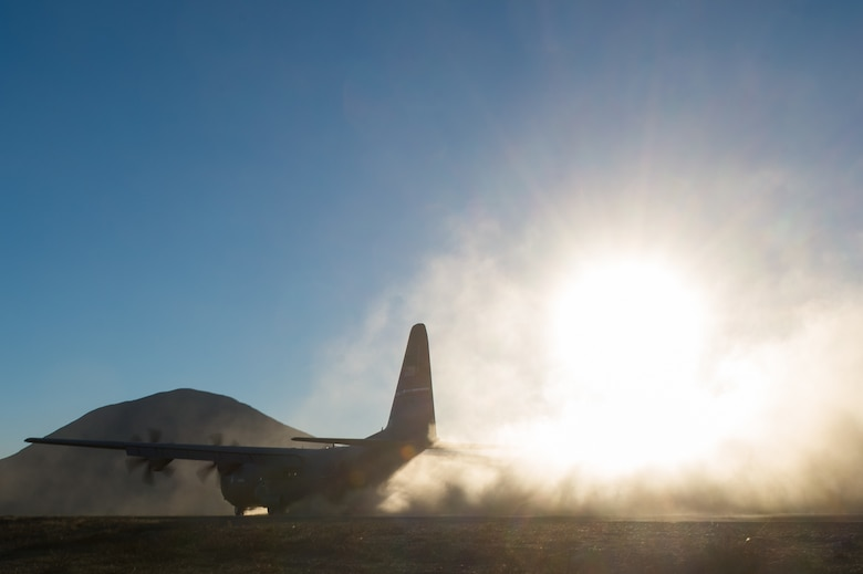 A C-130J Super Hercules from Dyess Air Force Base, Texas, lands at Donnelly Landing Zone, Alaska, during exercise Red Flag-Alaska 17-1, Oct. 14, 2016. Red Flag-Alaska is a series of Pacific Air Forces commander-directed field training exercises for U.S. and partner nation forces, providing combined offensive counter-air, interdiction, close air support, and large force employment training in a simulated combat environment. (U.S. Air Force photo/Master Sgt. Joseph Swafford)