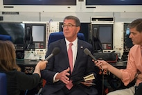 Defense Secretary Ash Carter speaks with reporters  while traveling to Ankara, Turkey, Oct. 20, 2016. DoD photo by Air Force Tech. Sgt. Brigitte N. Brantley
