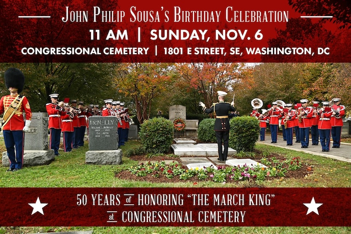 The Marine Band will perform a gravesite ceremony honoring the 162nd anniversary of its 17th Director John Philip Sousa on Nov. 6, 2016, at Congressional Cemetery in Washington, D.C. (U.S. Marine Corps photo by Staff Sgt. Brian Rust/released)