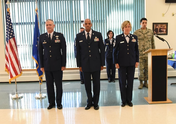 Chief Master Sgt. Denny Richardson (center) assumes the duties of 109th Airlift Wing command chief during a change of authority ceremony at Stratton Air National Guard Base, N.Y., on Oct. 6, 2016. Also pictured are Col. Shawn Clouthier (left), 109th AW commander, and outgoing 109th AW command chief, Chief Master Sgt. Amy Giaquinto. Giaquinto is now the New York Air National Guard command chief. (U.S. Air National Guard photo by Master Sgt. William Gizara/Released)