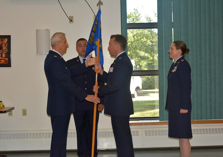 Lt. Col. Robert Donaldson (center) assumes command of the 109th Maintenance Group from Col. Alan Ross, 109th Airlift Wing vice commander, during a change of command ceremony at Stratton Air National Guard Base on Sept. 11, 2016. Col. Denise Donnell (right), outgoing 109th MXG commander, was selected as the 105th Airlift Wing vice commander at Stewart Air National Guard Base in Newburgh, New York. (U.S. Air National Guard photo by Master Sgt. William Gizara/Released)
