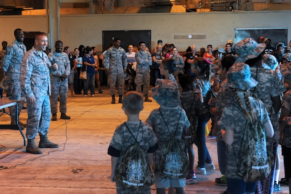 Brig. Gen. Brook Leonard, 56th Fighter Wing commander, gives opening remarks during the Operation Kids event Oct. 15 at Luke Air Force Base, Ariz. The Operations Kids event was held to educate young thunderbolts on the deployment process. (U.S. Air Force Photos by Airman 1st Class Pedro Mota)