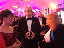 J.D. Crouch II, the USO's chief executive officer and president, and his wife, Kris, speak with USO legend Ann-Margaret at the 75th Anniversary USO Gala at the Daughters of the American Revolution Constitution Hall in Washington, D.C., Oct, 20, 2016. DoD photo by Jim Garamone