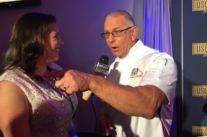 Chef Robert Irvine speaks about his USO experiences during the 75th Anniversary USO Gala at the Daughters of the American Revolution Constitution Hall in Washington, D.C., Oct, 20, 2016. DoD photo by Jim Garamone