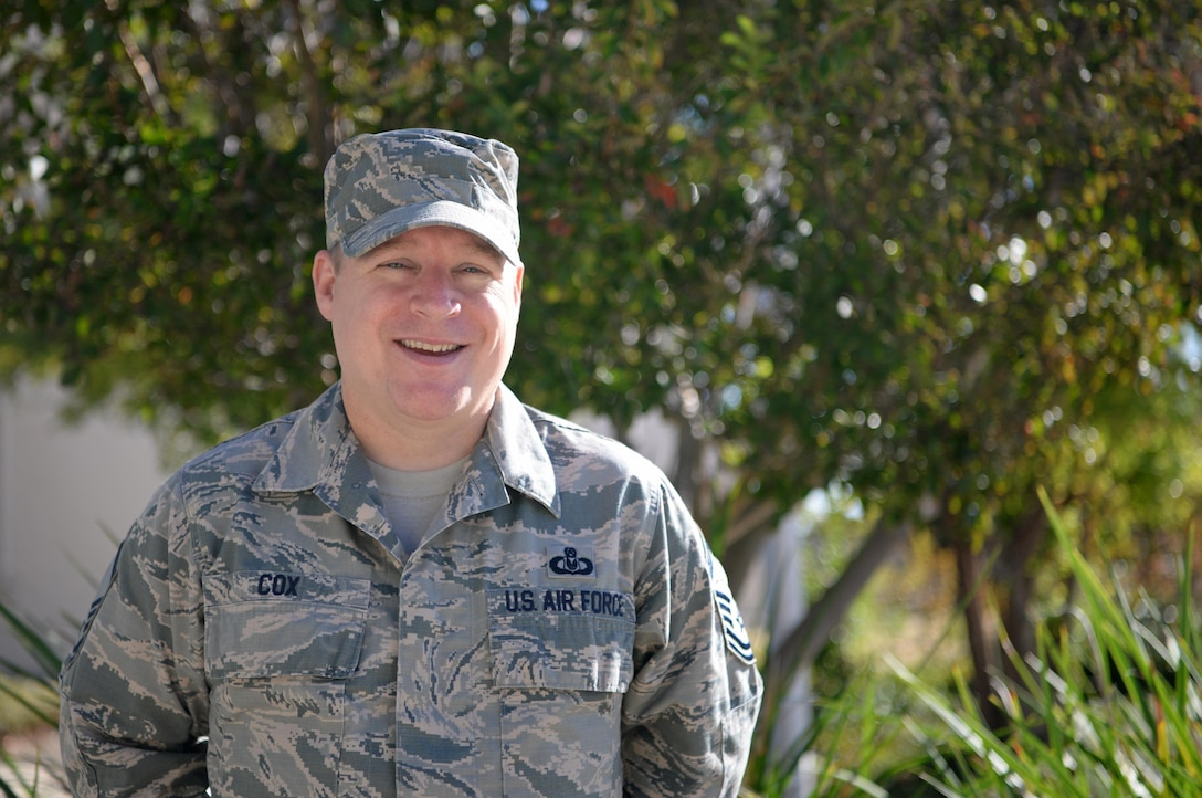 Senior Master Sgt. Eric D. Cox, 9th Force Support Squadron career assistance advisor, poses for a photo Oct. 18, 2016, at Beale Air Force Base, Calif. (U.S. Air Force photo/Airman Tristan D. Viglianco)