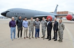 The KC-135 Stratotanker team members for the Block 45 upgrade are, from left, Dan Olson, Ivan Crespo, Long Nguyen, Lt. Joshua Neace, Sam Speziale, Capt. Dustin Keller, Keith Lymore, Jon Cloud and Capt. Tyner Apt. Team members not pictured are Capt. Anthony Konakowitz, Nick Binkley and Master Sgt. Dante Alexander. (Air Force photo by Kelly White)