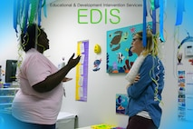 Neirissa Keeler speaks with a parent during an EDIS Program open house at the Maxwell AFB Clinic Oct. 21, 2016. EDIS stands for educational and developmental intervention services. Keeler, an early childhood special educator and EDIS element chief, offers developmental screening for any child with access to the Maxwell Clinic. Her element can offer advice, support and learning material for those who are missing some developmental milestones, and can also offer parents support on general topics ranging from potty training to helping with picky eating for any child. Keeler recommends all parents have their children screened before age 2. (U.S. Air Force photo by SrA William Blankenship)