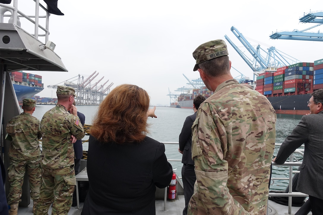 Port of Los Angeles, Director of Legislative Affairs and Government Division Marisela DiRuggiero, discusses harbor activities to South Pacific Division Commander Col. Peter Helmlinger, during a visit to the POLA Oct. 14.