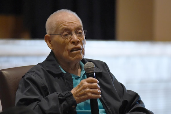Eddie Graham, retired Army sergeant, speaks to Airmen at McConnell Air Force Base, Kan., Oct. 20, 2016. Graham gave a speech about how his experiences during World War II and surviving the Bataan Death March. (U.S. Air Force photo/Senior Airman Christopher Thornbury)