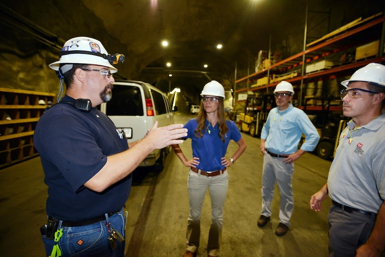 Fil Martinez, Raccoon Mountain Facility hydro operator from the Raccoon Mountain Pumped-Storage Facility explains how power storage works to a group from the Tennessee Silver Jacket program Oct. 19, 2016