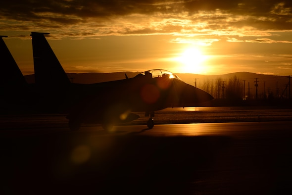 A Republic of Korea Air Force F-15K Slam Eagle multi-role fighter aircraft taxis down the Eielson Air Force Base, Alaska, flight line, Oct. 20, 2016, during RED FLAG-Alaska (RF-A) 17-1. RF-A enables joint and international units to sharpen their combat skills by flying simulated combat sorties in a realistic threat environment. (U.S. Air Force photo by Airman Eric M. Fisher)