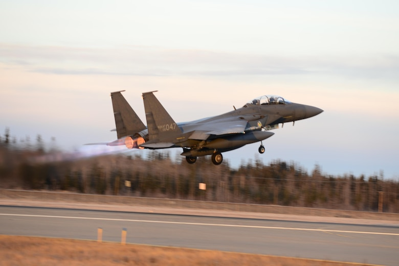 A Republic of Korea Air Force F-15K Slam Eagle multi-role fighter aircraft takes off from the Eielson Air Force Base, Alaska, flight line, Oct. 20, 2016, during RED FLAG-Alaska (RF-A) 17-1. Conducting RF-A training signifies our continued commitment to the Indo-Asia-Pacific region. (U.S. Air Force photo by Airman Eric M. Fisher)
