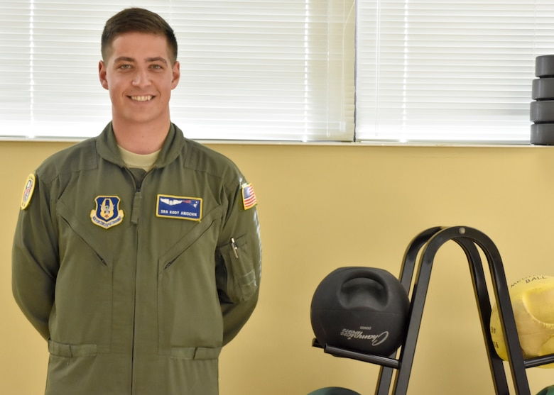 Senior Airman Kody Anischick, 337th Airlift Squadron, recently passed his fitness test after failing three times and being warned that if he failed again, he would be discharged. (U.S. Air Force photo/ TSgt. Amelia Leonard)