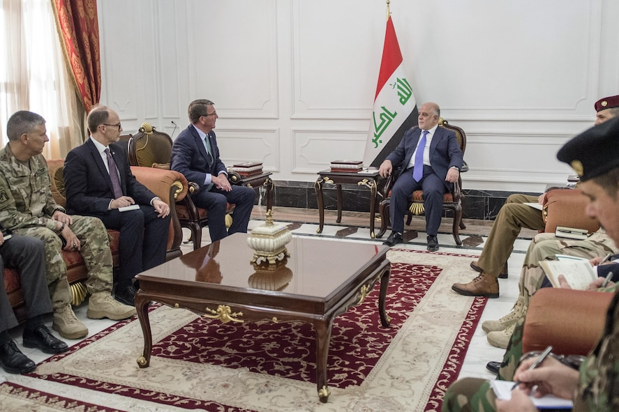 Defense Secretary Ash Carter meets with Iraqi Prime Minister Haider al-Abadi.