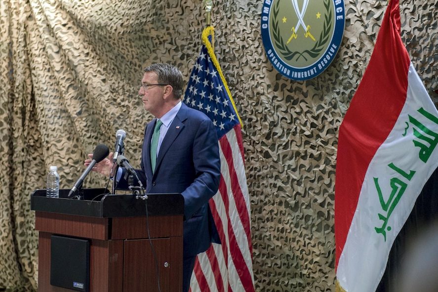 Defense Secretary Ash Carter addresses troops.