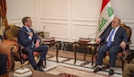 Defense Secretary Ash Carter meets with Iraqi Prime Minister Haider al-Abadi in Baghdad, Iraq, Oct. 22, 2016. DoD photo by U.S. Air Force Tech. Sgt. Brigitte N. Brantley
