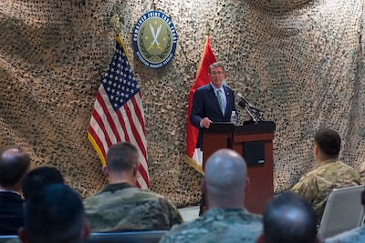 Defense Secretary Ash Carter addresses troops at the Combined Joint Task Force-Operation Inherent Resolve headquarters in Baghdad, Oct. 22, 2016. DoD photo by Air Force Tech. Sgt. Brigitte N. Brantley
