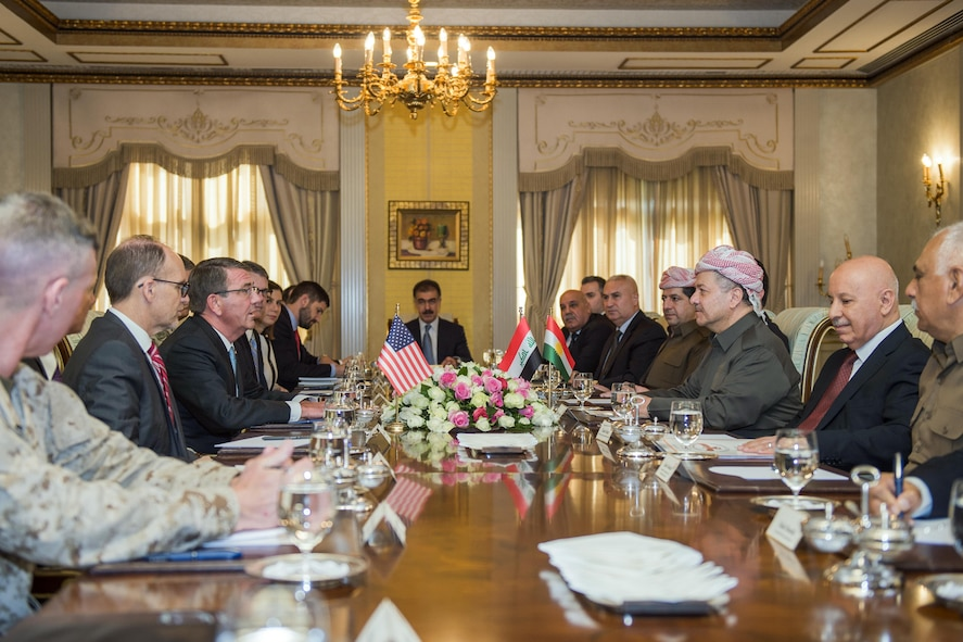 Defense Secretary Ash Carter meets with Masoud Barzani, president of the Iraqi Kurdistan Region.