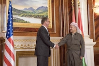 Defense Secretary Ash Carter meets with President of the Iraqi Kurdistan Region Massoud Barzani after arriving in Irbil, Iraq, Oct. 23, 2016. DoD photo by U.S. Air Force Tech. Sgt. Brigitte N. Brantley