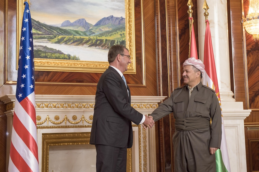 Defense Secretary Ash Carter meets with President of the Iraqi Kurdistan Region Massoud Barzani.