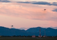 Two F-16 Fighting Falcons fly over Aviano Air Base, Italy on Oct. 20, 2016. The 555th and 510th Fighter Squadrons ensure the 31st Fighter Wing is ready to deliver combat air power and support across the globe. (U.S. Air Force photo by Staff Sgt. Krystal Ardrey/Released)