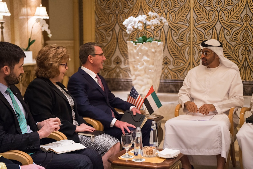 Defense Secretary Ash Carter meets with Crown Prince Mohammed Bin Zayed Al Nahyan of the United Arab Emirates.