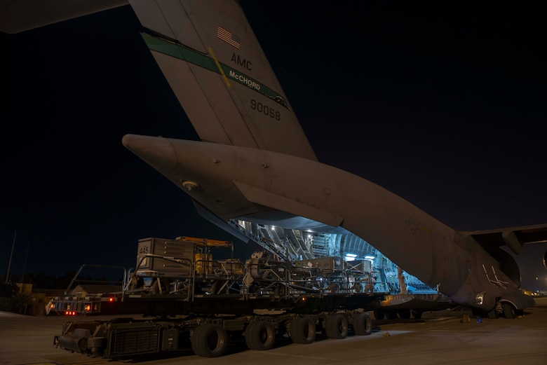 A C-17 Globemaster III has cargo offloaded from a 60K loader Oct. 21, 2016, at Incirlik Air Base, Turkey. The C-17 is capable of rapid strategic delivery of troops and all types of cargo to installations worldwide. (U.S. Air Force photo by Senior Airman John Nieves Camacho)