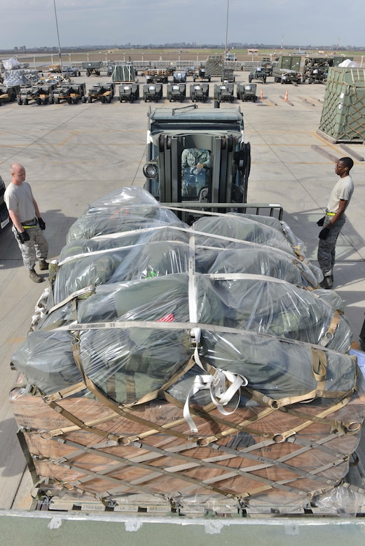 U.S. Airmen assigned to the 728th Air Mobility Squadron accomplish joint inspections on cargo Oct. 18, 2016, at Incirlik Air Base, Turkey. Joint inspections ensure a cargo's air-worthiness prior to transportation. (U.S. Air Force photo by Senior Airman John Nieves Camacho)