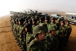 Soldiers with People's Liberation Army at Shenyang training base in China (DOD/D. Myles Cullen)