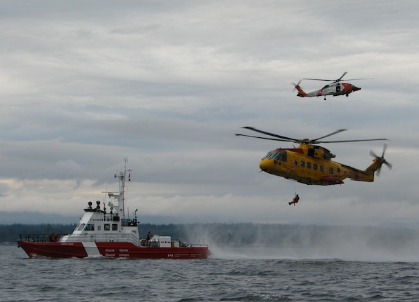 The U.S. Coast Guard, Royal Canadian Air Force, and the Canadian Coast Guard work closely together to ensure the safety of mariners along the border.