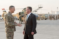 Secretary of Defense Ash Carter and U.S. Army Lt. Gen. Stephen Townsend, commander of Combined Joint Task Force-Operation Inherent Resolve, say farewell in Erbil, Iraq, Oct. 23, 2016. (DoD photo by U.S. Air Force Tech. Sgt. Brigitte N. Brantley)